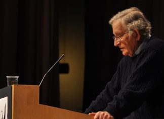 Chomsky giving speech