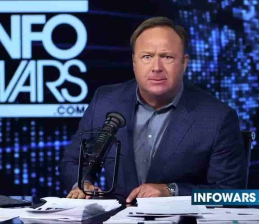 alex jones at set with angry face