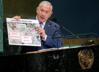 Netanyahu showing Iran's New Nuclear Warehouse using props