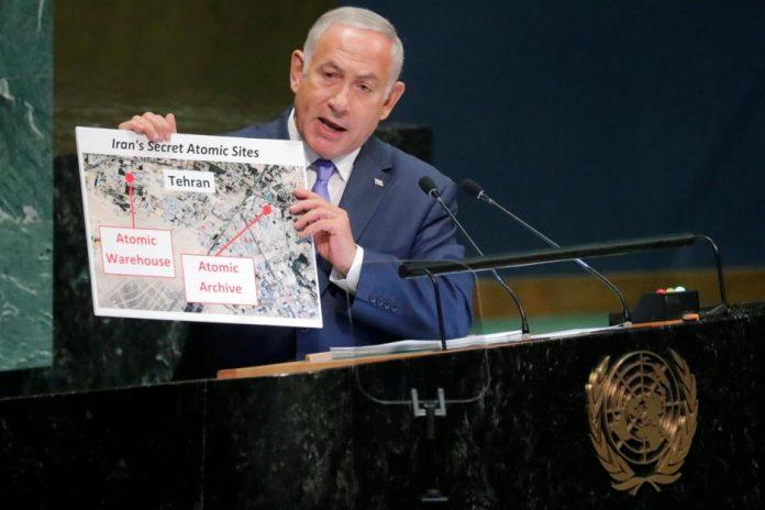 Netanyahu showing Iran's New Nuclear Warehouse using props