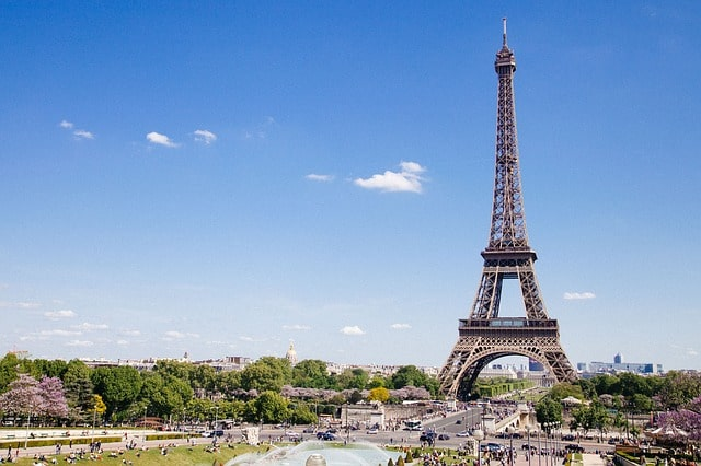 Paris eiffel tower from far