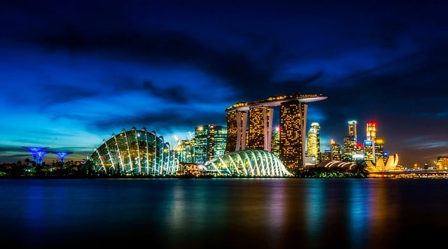 Singapore city from sea