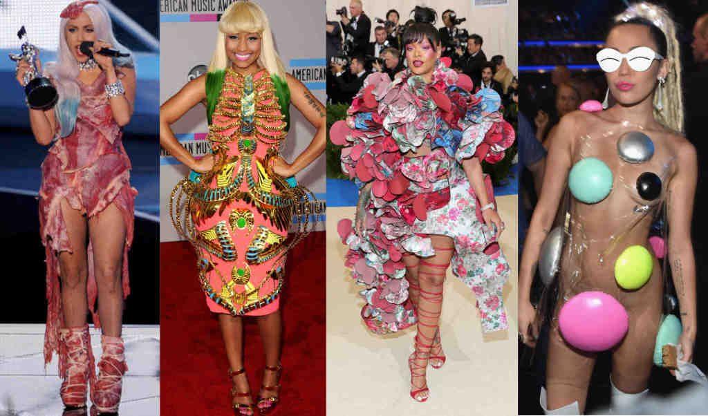 Hollywood Celebrities wearing uncanny dress. Lady Gaga, Nicky Minaj