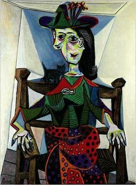 Dora Maar Au Chat by Pablo Picasso. One of the most expensive paintings in the world.